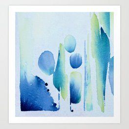 Watercolour tumbles in blue Art Print