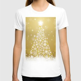 Gold Snowflakes Sparkling Christmas Tree T-shirt