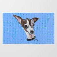 greyhound Area & Throw Rugs featuring Mia the Italian Greyhound by gretzky