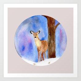 Deer in Forest Winter Painting Art Print