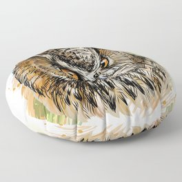 Long-eared owl sketchy colored hand-drawn portra Floor Pillow