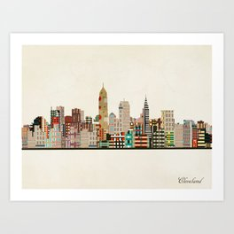 cleveland ohio skyline Art Print