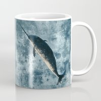 narwhal Mugs featuring Jackson the Narwhal by Amber Marine