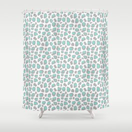 Leopard Animal Print Aqua Blue Gray Grey Spots Shower Curtain