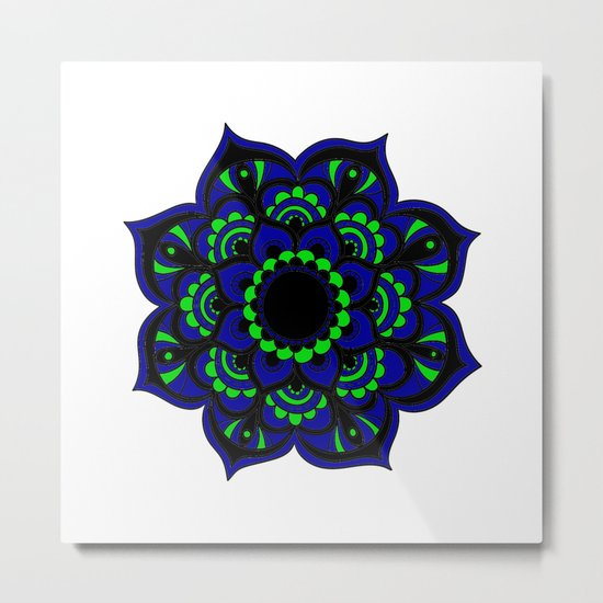 Peacock flower | Mandala Metal Print