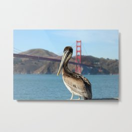 Pelican Perch Under the Golden Gate Metal Print