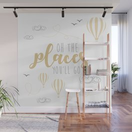 OH THE PLACES YOU'LL GO - HOT AIR BALLOON BEIGE Wall Mural