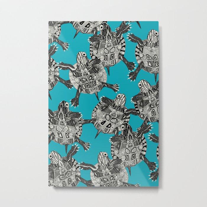 turtle party surf blue Metal Print