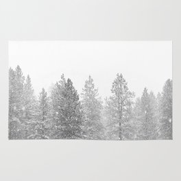 Snow Day // Black and White Winter Landscape Photography Snowing Whiteout Blizzard Rug