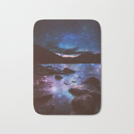 Magical Mountain Lake Deep Cool Tone Bath Mat