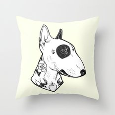 Bull Terrier dog Tattooed Throw Pillow