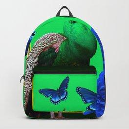 BLUE BUTTERFLIES & GREEN PEACOCKS FLORAL Backpack