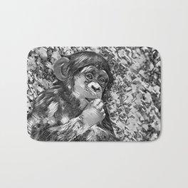 AnimalArtBW_Chimpanzee_20170605_by_JAMColorsSpecial Bath Mat