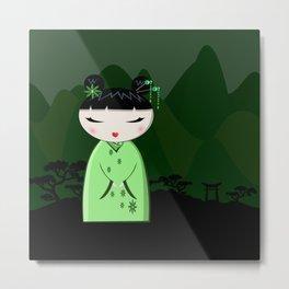 Green kokeshi Metal Print