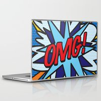 comic book Laptop & iPad Skins featuring Comic Book OMG! by The Image Zone
