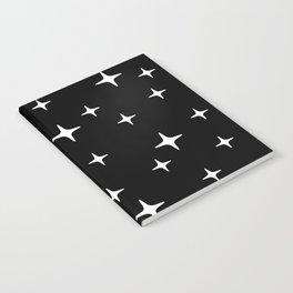 Mid Century Modern Star Pattern 443 Black and White Notebook