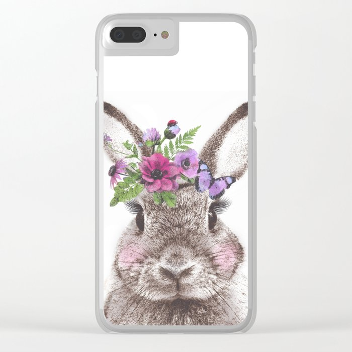 Bunny with flowers Clear iPhone Case