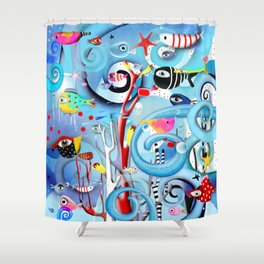 Reefs Marine Swirls Diversity saltwater fishes Shower Curtain