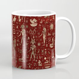 Ancient Egyptian Gods and hieroglyphs - Red Leather and gold Coffee Mug