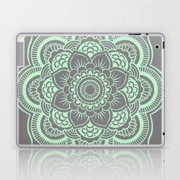 Mandala Flower Gray & Mint Laptop & iPad Skin