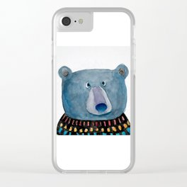 Bear in Sweater Clear iPhone Case
