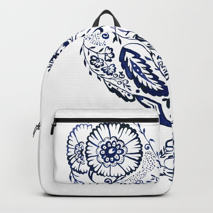 Folk Floral Indigo Owl Backpack