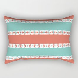 South Western Print in Modern Aqua Turquoise and Coral Geometric Diamonds Arrows Triangles Circles Rectangular Pillow