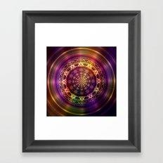 Golden shine mandala Framed Art Print