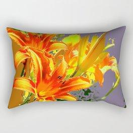 Serene Orange Daylilies Grey-Brown Abstract Rectangular Pillow