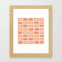 Mid Century Modern Abstract Squares Pattern 542 Peach and Beige Framed Art Print