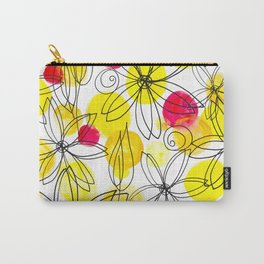 Pineapple Upside Down Floral: Bright Paint Spots with Black Ink Floral Elements Carry-All Pouch