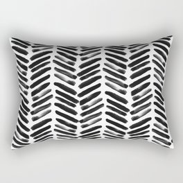 Simple black and white handrawn chevron - horizontal Rectangular Pillow