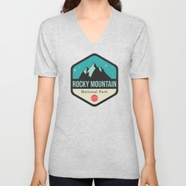 Rocky Mountains Park Badge Unisex V-Neck