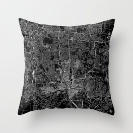 Columbus Black Map Throw Pillow