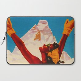 Aosta Valley Switzerland - Vintage Snow Skiing Travel Laptop Sleeve