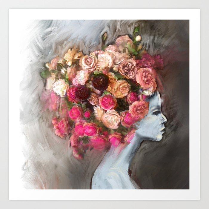 Flower Bloom Girl Art Print