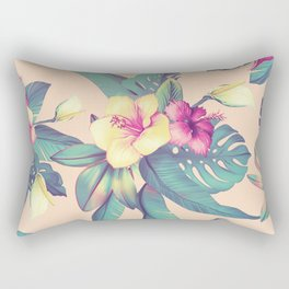 Blush Tropical Flowers Rectangular Pillow