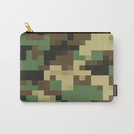 Army Camouflage Pixelated Pattern Green Brown Mountain Carry-All Pouch