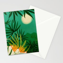 Exotic Garden Nightscape / Tropical Scene Stationery Cards