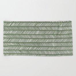Fir Tree Green Small Herringbone Drawing Beach Towel