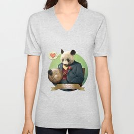 Wise Panda: Love Makes the World Go Around! Unisex V-Neck