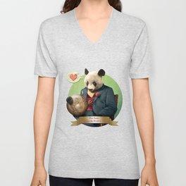 Wise Panda: Love Makes the World Go Around! Unisex V-Neck