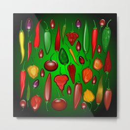 Chili Peppers Hot And Spicy Metal Print
