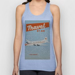 """1950s style """"by air"""" travel poster print. Unisex Tank Top"""