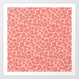 Leopard dots   Living Coral Art Print