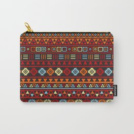 Aztec Influence Ptn IV Orange Red Blue Black Yellow Carry-All Pouch