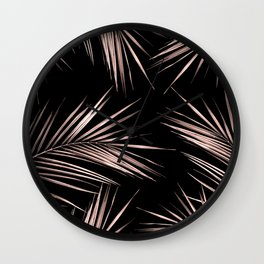 Rosegold Palm Tree Leaves on Midnight Black Wall Clock