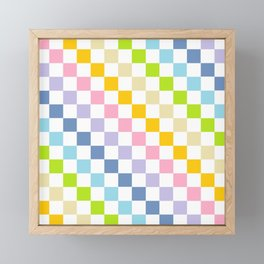 Checkered Pastel Rainbow Framed Mini Art Print