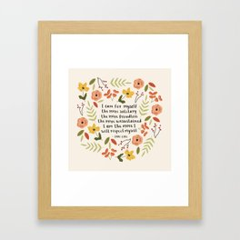 """Jane Eyre """"I Care For Myself"""" Quote Framed Art Print"""