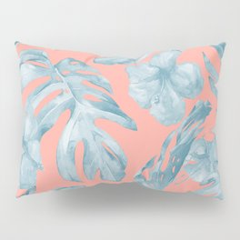 Island Life Pale Teal Blue on Coral Pink Pillow Sham